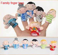 Stuffed Plush 2 -4Years Six Family Member Finger Toy Hand Puppet, telling story and action for baby and child #90205