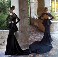 Reference Images Scoop Elastic Silk like Satin Sexy Long Sleeve Key Hole Back Peplum Mermaid Satin Elie Saab Applique Lace Prom Evening Dresses Party Dress With Long Train&Scoop Neckline