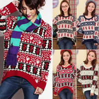 Wholesale 2013 New Womens Deer Asymmetric Hem Long Sleeve Knitted Sweater Pullover Cardigan Jumper Sweater ax297
