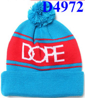 Wholesale New Arrival light blue red dope beanie hats white dope logo percent Acrylic Dope Beanie Caps with Pom for Men D4972