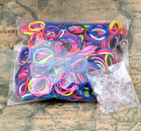 Link, Chain   10 lots wholesale 24 clip and 600 mix colored rubber bands for rainbow loom diy bracelet