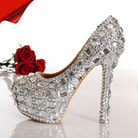 PU Beaded High Heel mygirlsdress Gorgeous design Royal Silver Jeweled Beaded Women's High Heels Bridal Evening Prom Party Wedding Dresses Bridesmaid Shoes
