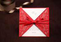 Wholesale Red laser cut wedding invitation card with Ribbon