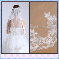 Wholesale 2013 Hote Sale High Quality White Ivory One Layer Bridal Veils Tulle Comb Ribbon Edge Applique Bridal Accessories