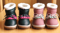 Wholesale Winter Children Girls Fleece Inner Warm Snow Boots Kids Pink Green Vintage Cotton Zipper Shoes B2067