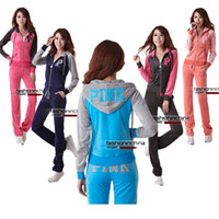 velour tracksuit - Long Sleeve Pink Velour Tracksuits Sweat Suits Hoodies Jogging Suits Hooded Sweatsuits Sportswear New Arrival Womens