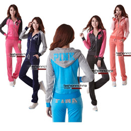Wholesale Long Sleeve Pink Velour Tracksuits Sweat Suits Hoodies Jogging Suits Hooded Sweatsuits Sportswear New Arrival Womens