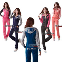Women Long Sleeve Regular Ppink Velour Tracksuits For Women Sweat Suits Jogging Sport Suits Hooded Sweatsuits Sportswear 2014 Free Shipping
