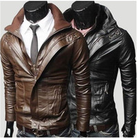 Wholesale Brief double collar design short slim leather clothing outerwear male casual water wash motorcycle leather clothing