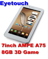 Wholesale 2pcs Inch Ampe A75 G Tablet Built in G Phone Allwinner A13 MB RAM G Flash Android Capacitive Dual Camera Tablet pc