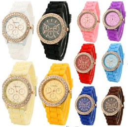 Wholesale hot women geneva colorful silicone jelly wristwatch Three circles Display gold frame candy band quartz watches