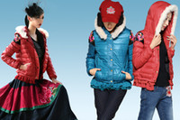 Wholesale A new type of dress white feather shoulder embroidery hooded short down jacket