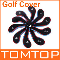 Wholesale 10Pcs Set Golf Club Iron Putter Head Cover HeadCovers Protect Set Neoprene Black with Blue H8811BL