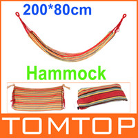 Canvas   Canvas 200*80cm Single Hammock Outdoor Camping Leisure Fabric Stripes Sports Outdoor Furniture New Arrival H9988