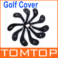 Wholesale 1Set Golf Club Iron Putter Head Cover HeadCovers Protect Set Neoprene Black with White H8811W