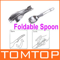 Wholesale Cookout Hiking Picnic Outdoor Tableware Foldable Stainless Steel Traveling Camping Spoon Fork Dual Purpose H9991