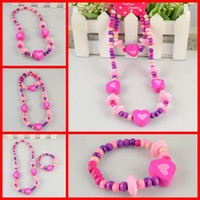 Resin Jewelry Sets Jewelry Sets Sweety Heart Children Jewelry Kids Resin Wood Bead Necklace Beautiful Girls Favourite Round Necklace Bracelet 12 SET Lots SCJ005