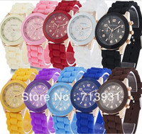 Wholesale 2013 New Shadow Style Geneva Watch Rubber Candy Jelly Fashion Men Wamen Silicone Quartz Watches