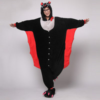 Wholesale Coral Cashmere Flannel Lover Bat Vampire Animal Kigurumi Piece Pajamas Cosplay Costume Garment Adult Sleepcoat Onesies SML XL