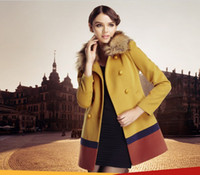 Wholesale 2013 NEW Double breasted pure color cloth coat Long sections woollen coat SIZE S M L XL