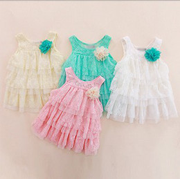 Girl's Summer Sleeveless Cake Dress Children Lace Hollowed Dresses Layered Fashion Baby Princess Dresses Kids Dresses Clothing
