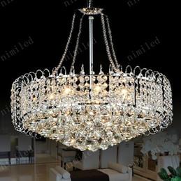 Promotion pendentifs en argent nimi155 Dia 530 * H500mm moderne K9 lustre en cristal Pendentif droplight lampe d'éclairage pour restaurant Salon Chambre Argent / Or