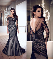 Wholesale Elegant Newest Sweetheart Tulle Evening Dresses wedding Dress Dark Gowns Appliques Long Sleeve Mermaid prom Party Dresses