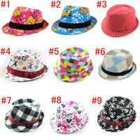 Wholesale Boys Fedora Cowboy Fedora Hats Baby Jazz Cap Baby Boy Fedora Brim Hat Party Hat color for Kids T