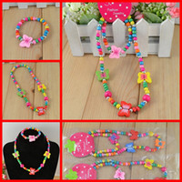 Resin Jewelry Sets Jewelry Sets Children Jewelry 2 Colors Kids Resin Wood Bead Girls Necklace Fashion 100% Candy Round Necklace Bracelet 12 SET Lots SCJ003