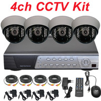 Wholesale 4ch cctv kit cctv system sony TVL IR indoor dome cctv security surveillance video monitor camera ch h HD DVR digital video recorder