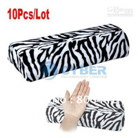 Nail File Metal  Wholesale - 10Pcs Lot Mix Leopard Uv Acrylic Nail Art Manicure Rest Tool Hand Pillow Cushion Free Shipping