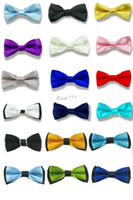 Wholesale New boy s Solid Bowtie Pre tied Wedding satin bow tie BCH2