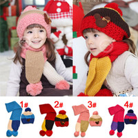 Wholesale Newly Arrival Lovely Baby Hats Scarf Girls Muffler Earflap Caps Child Shawl years Beret Kids Knitted Pocket Lovely Bear Hat