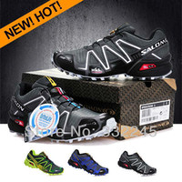 Men Cotton Fabric Rubber 2014 free shipping NEW arrival black speedcross 3 Free Shipping Salomon Out hiking Shoes Men Sneakers Walking Shoes for sale