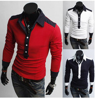 Women Men navy Blue Free shipping man lapel Paul leisure fashion color matching long sleeve polo shirt of cultivate one's morality M L XL XXL