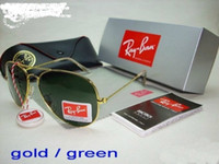 Wholesale RAY BAN sunglasses MEN S WOMEN S AVIATOR RB rayban gold frame green lens SUNGLASSES