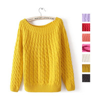 Women Alpaca Twinset Newly Arrival 2013 Women's Basic Sweater Pullover Short Design Vintage Candy Colors Twist Loose All - Match Jumper Outerwear