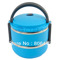 Ceramic Dinnerware Sets Stocked Cheap Double Layer Stainless Steel Children Lunch Box 1.4L Keep Warm Food Container For Kids Blue 15040