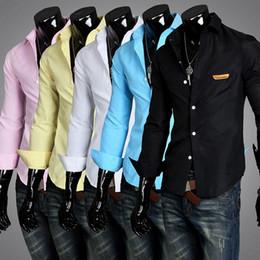 Wholesale NEW Men s casual Slim long Sleeve Shirts Men s Colors shirts Dress Shirts For Men Business Shirts C817