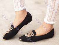 Wholesale 2013 casual women flat shoes fashion Ballet with Leopard Head design Metal Pointy Toe shoe Z Army