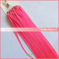 Wholesale free DHL quot Pink Micro Loop Hair Extensions g s Colored silky soft Straight Remy Human Hair Extension Nano Ring Mix