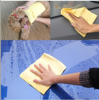 Wholesale Small car washing supplies synthetic suede towel deerskin towel absorbent pads chamois cloth