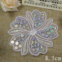 Wholesale White flower with sequin lace applique patch DIY Sewing Craft cm