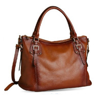 real leather handbags - Genuine Leather Real Leather Tote Shoulder Bag Purse Hobo Handbag