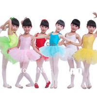 ballet leotards children - Children dance tulle dress girl ballet suspender dress fitness clothing performance wear leotard costume