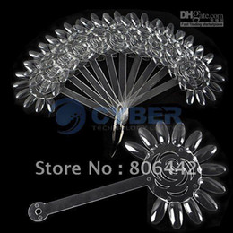 Wholesale AJ402 False Nail Art Board Tips Stick Foldable Polish Display Practice Transparent Fan Clear
