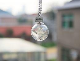 Wholesale 15PCS MM Dandelion Real Seed Glass Bulb Wish Necklace Dandelion Seed Necklace Dandelion Necklace Make A Wish GGJ GJN