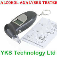 Wholesale 1pcs Key Chain LCD Alcohol Tester Alcohol Breath Analyze Tester Digital Breathalyzer BAC Max