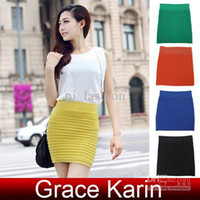 Wholesale GK Sexy Lady Cany Color Bandage Dresses Stretch Ribbed Panel A Line Slim Skirt KX82