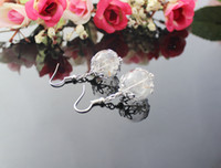 Wholesale 3Pairs MM Glass Bubble Dandelion earrings Wish Earrings Glass dome dangle earrings filled with real dried dandelion seeds GGJ GJE